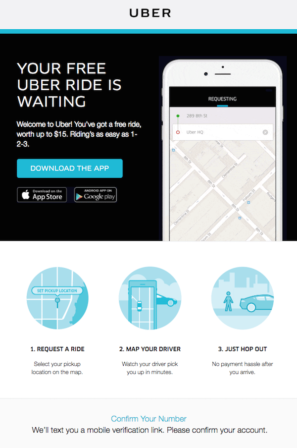 Uber welcome email