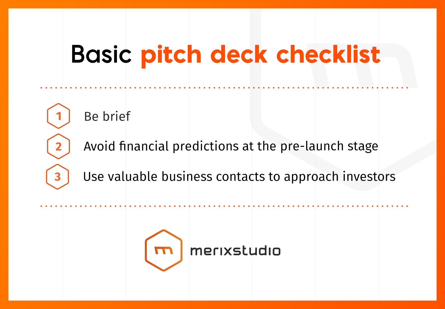 Basic pitch deck checklist