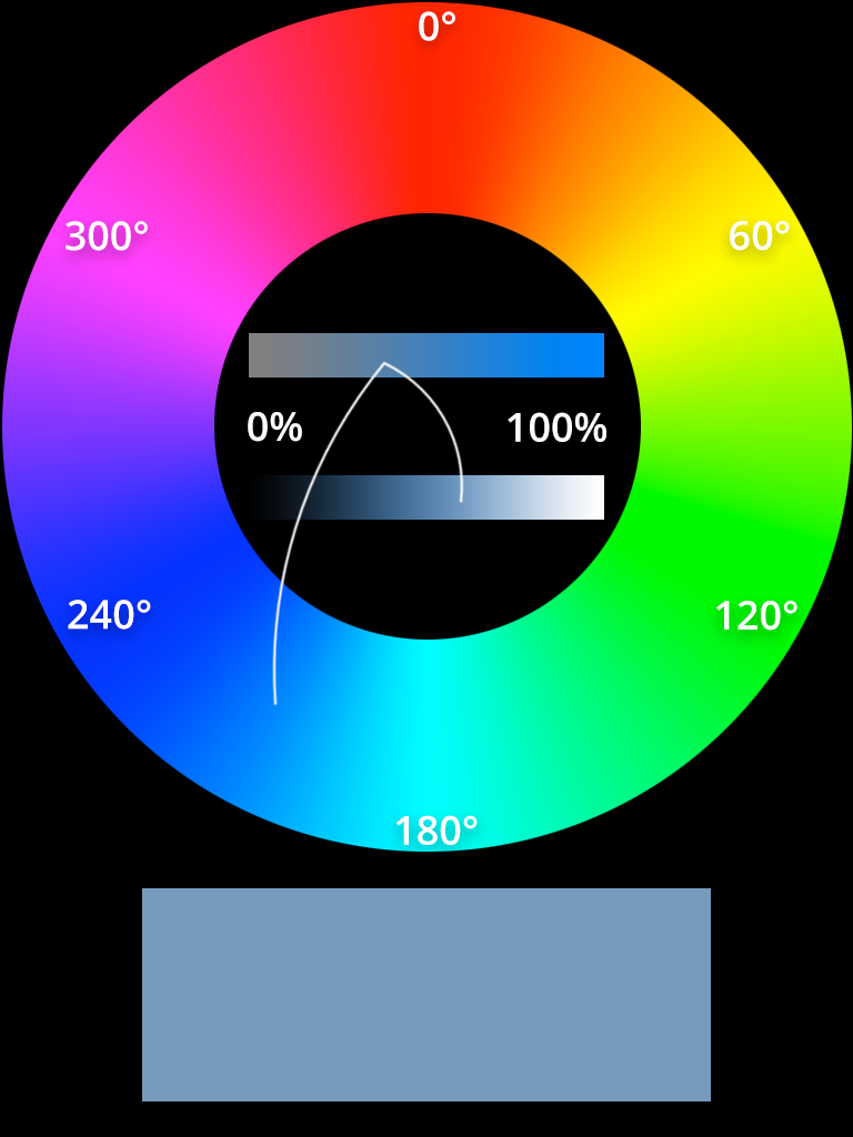 HSL color whell grayish blue