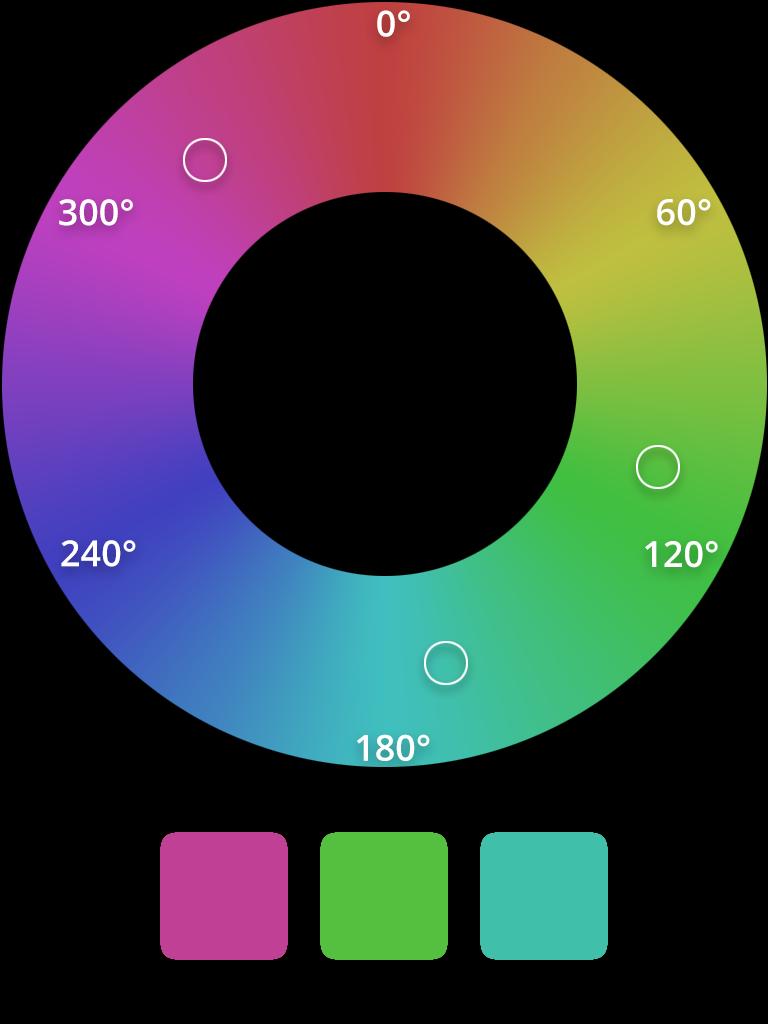 HSL split-complementary color scheme