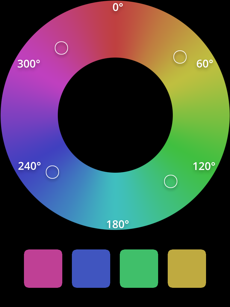 HSL tetradic color scheme