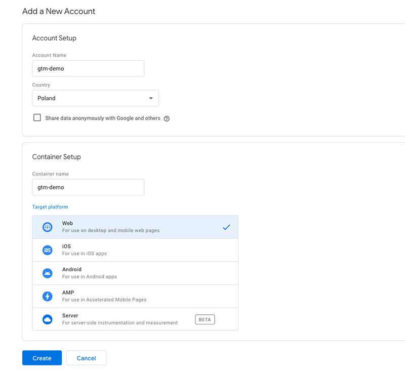 Google Tag Manager account setup interface