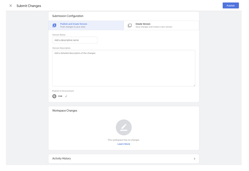 Change submission in GTM
