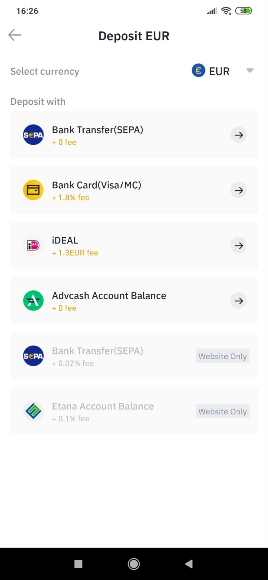 Deposit money feature in Binance app