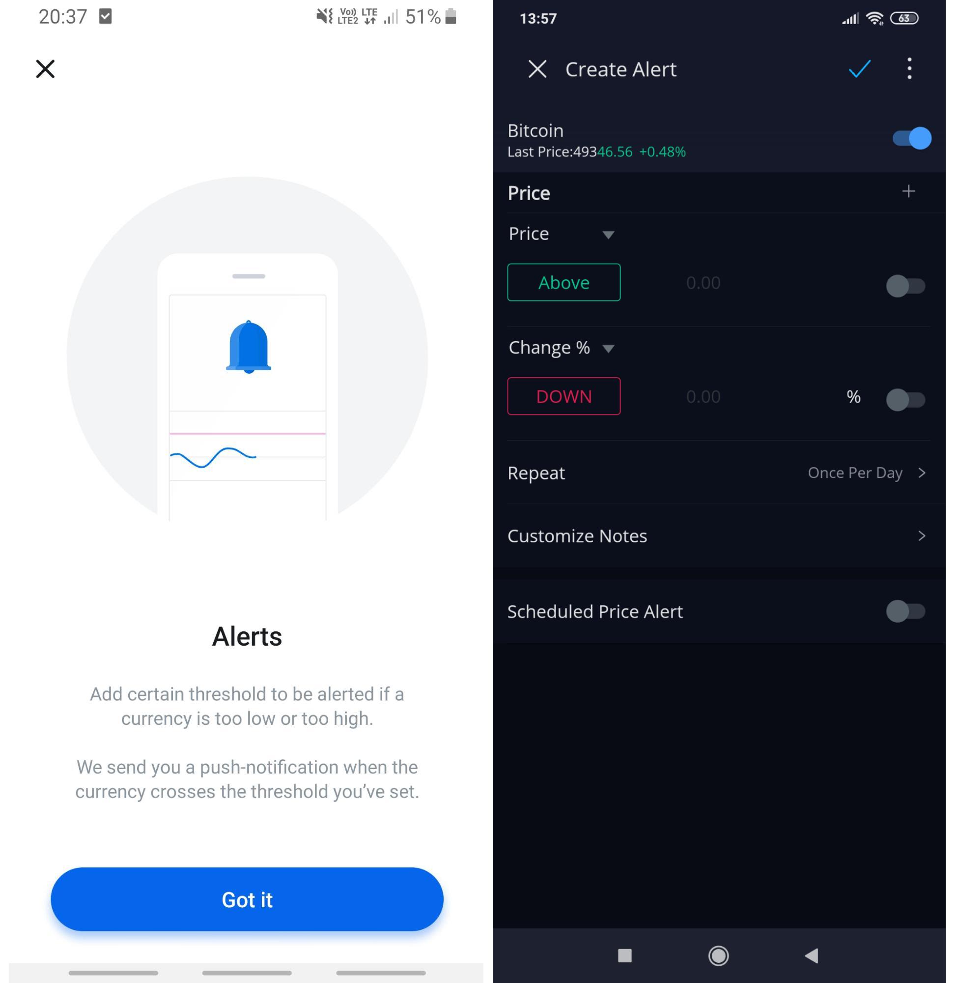 Alert setting screen in Revolut app and Webull app