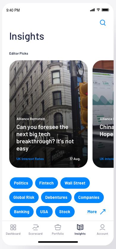 market insights design in Genuine Impact app by Merixstudio