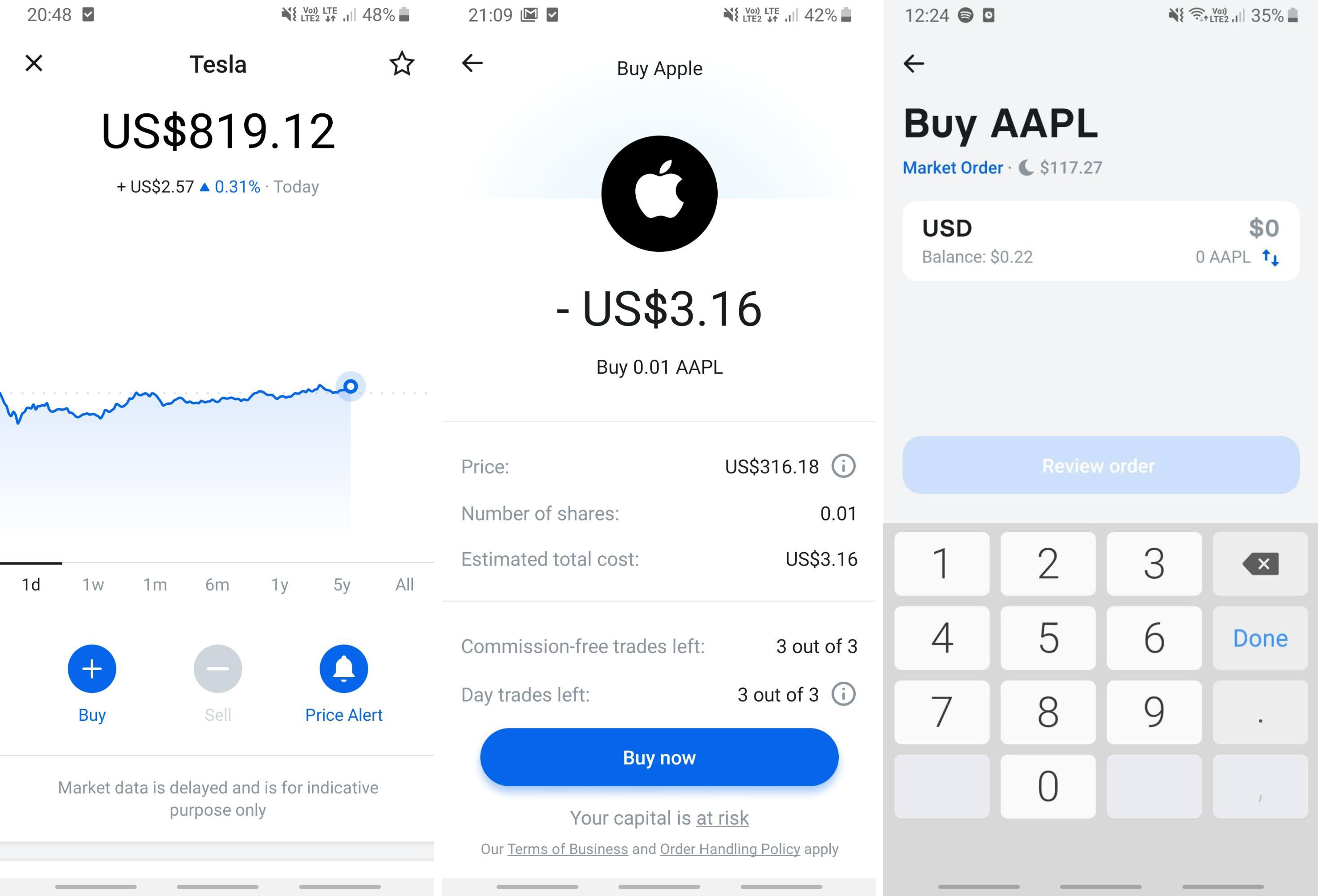 stock purchasing flow in Revolut app