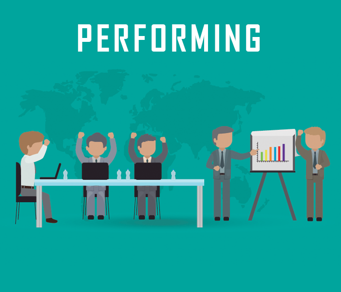 5 stages of group development in Scrum - Performing