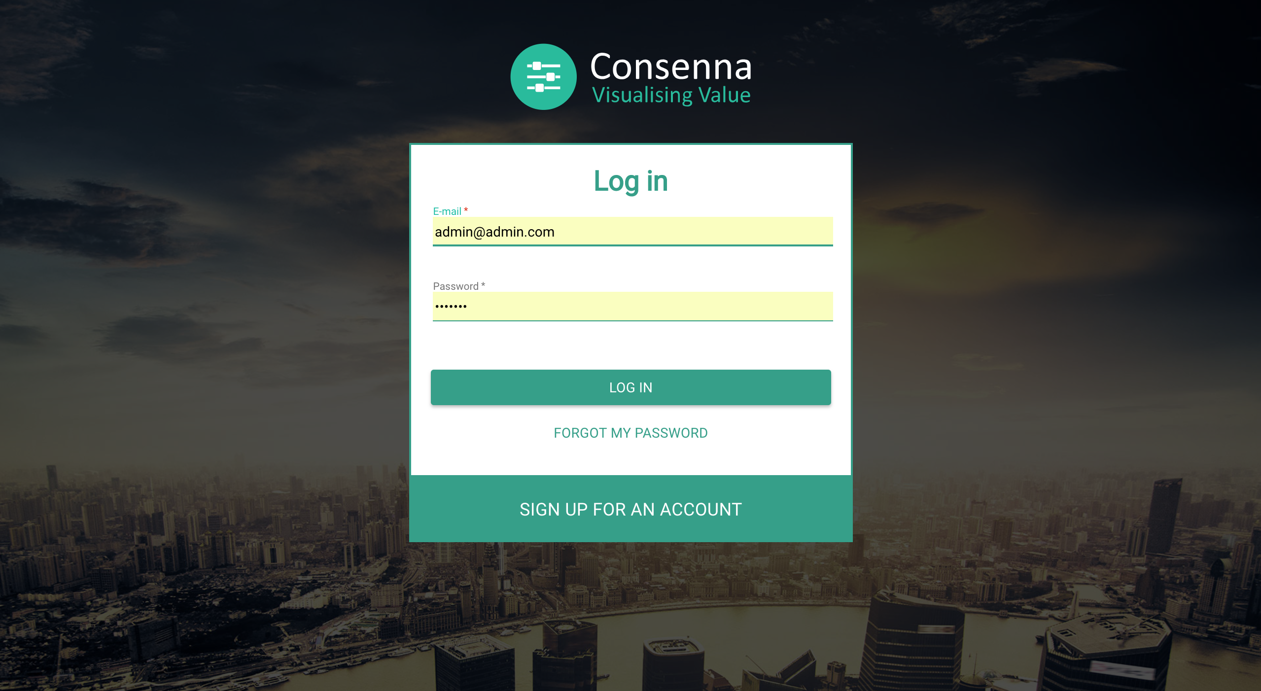 Consenna's log-in view
