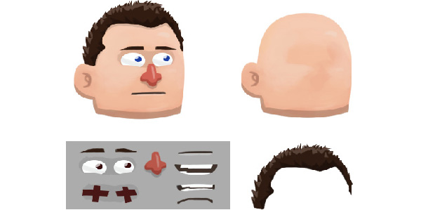 Different face features and whole head put together